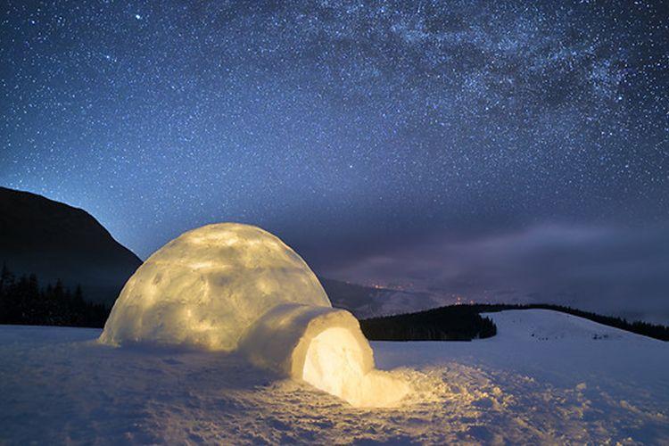 nuit en igloo durant un stage survie en hiver
